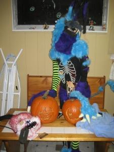 Evil Mushroom and Bomb-Omb pumpkins